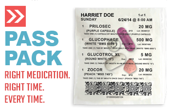 Pride Pharmacy PASS Pack,  take the right medications at the right time, every time.